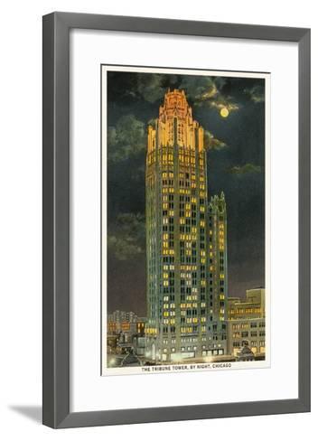 Tribune Tower by Night, Chicago, Illinois--Framed Art Print