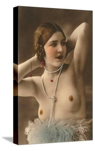 Topless Woman with Feather Boa--Stretched Canvas Print