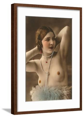 Topless Woman with Feather Boa--Framed Art Print