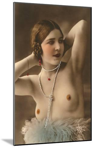 Topless Woman with Feather Boa--Mounted Art Print