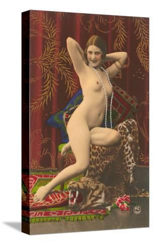 Naked Woman with Pearls--Stretched Canvas Print