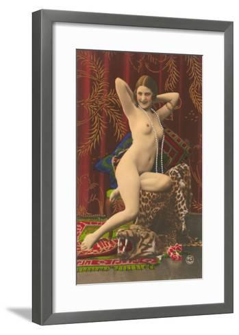 Naked Woman with Pearls--Framed Art Print