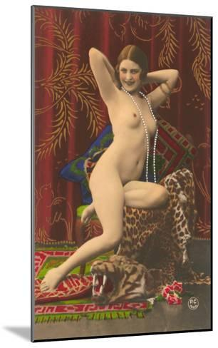 Naked Woman with Pearls--Mounted Art Print