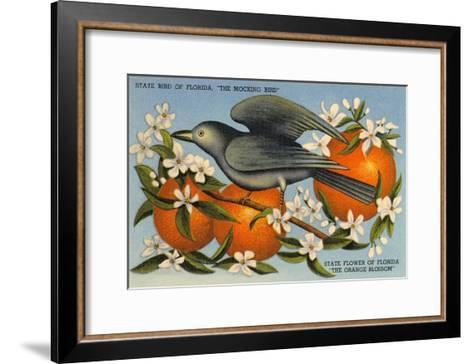 Mockingbird, Orange Blossoms, Florida--Framed Art Print