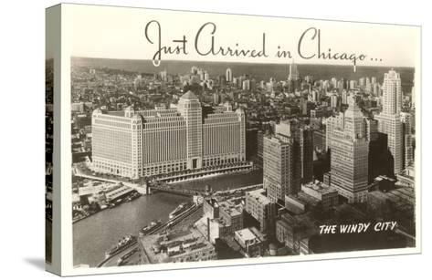 Just Arrived in Chicago Downtown View--Stretched Canvas Print