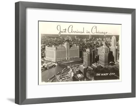 Just Arrived in Chicago Downtown View--Framed Art Print