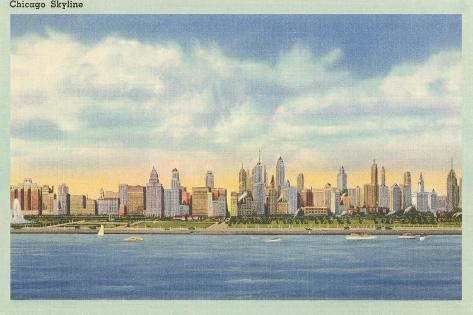 Skyline, Chicago, Illinois--Stretched Canvas Print