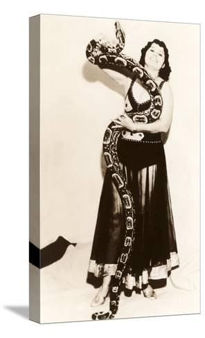 Circus Lady with Large Snake--Stretched Canvas Print
