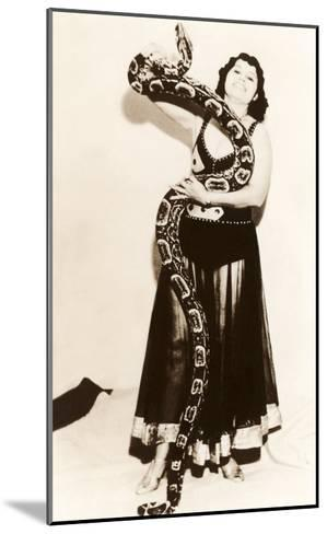 Circus Lady with Large Snake--Mounted Art Print