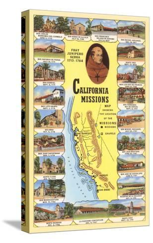 Map of California Missions--Stretched Canvas Print