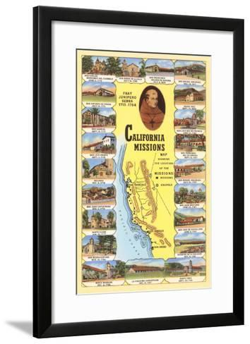 Map of California Missions--Framed Art Print