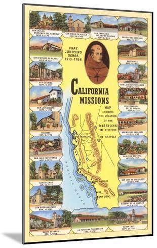 Map of California Missions--Mounted Art Print