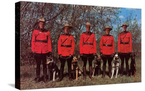 Canadian Mounties with Dogs--Stretched Canvas Print