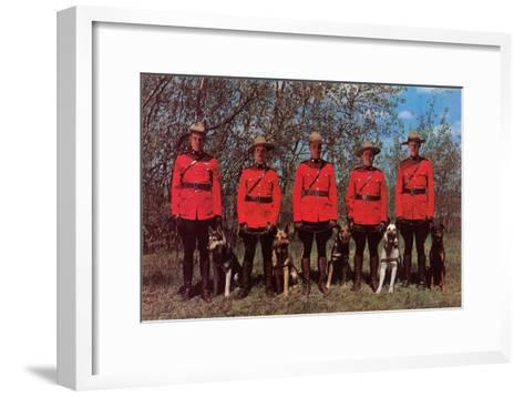 Canadian Mounties with Dogs--Framed Art Print