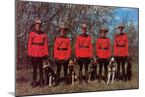 Canadian Mounties with Dogs--Mounted Art Print