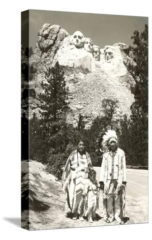 Indians in front of Mt. Rushmore, South Dakota--Stretched Canvas Print