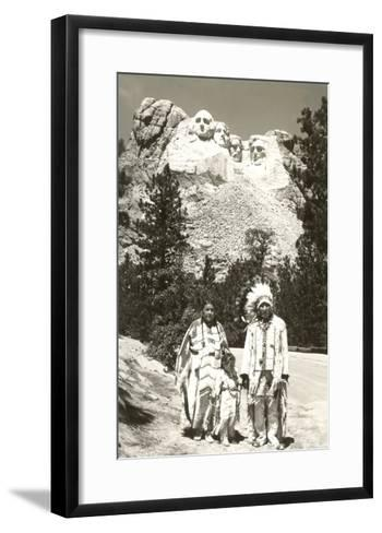 Indians in front of Mt. Rushmore, South Dakota--Framed Art Print