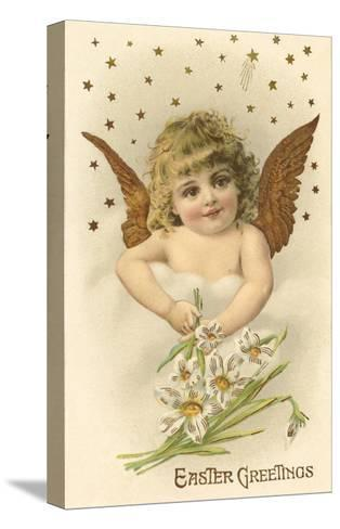Cherub with Lilies--Stretched Canvas Print