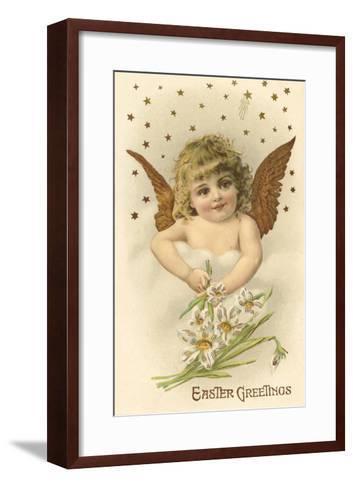 Cherub with Lilies--Framed Art Print