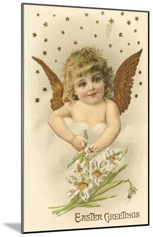 Cherub with Lilies--Mounted Art Print