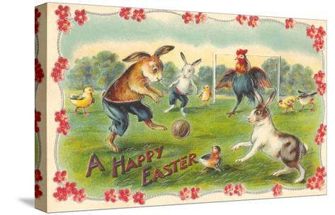 Happy Easter, Creatures Playing Soccer--Stretched Canvas Print