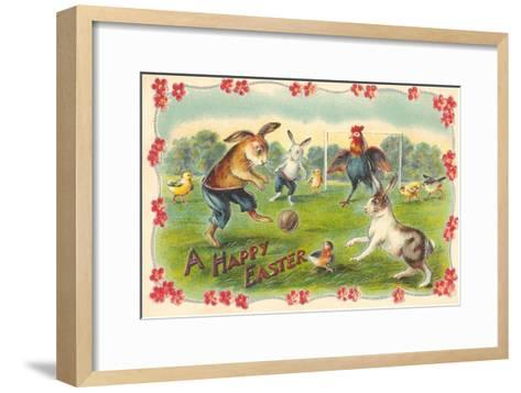 Happy Easter, Creatures Playing Soccer--Framed Art Print