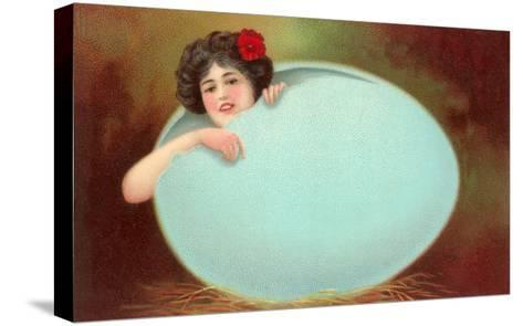 Girl Emerging from Cracked Egg--Stretched Canvas Print