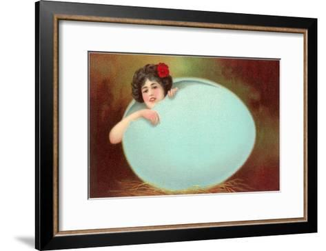 Girl Emerging from Cracked Egg--Framed Art Print