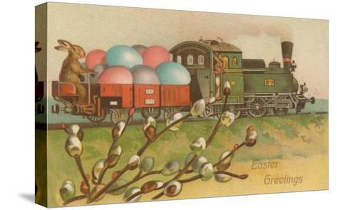 Easter Greetings, Locomotive with Eggs--Stretched Canvas Print