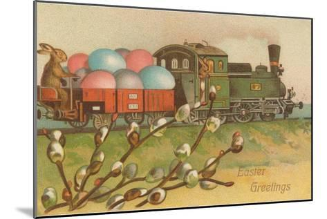 Easter Greetings, Locomotive with Eggs--Mounted Art Print