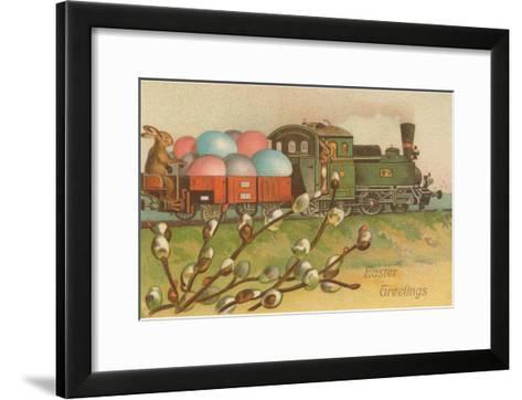 Easter Greetings, Locomotive with Eggs--Framed Art Print