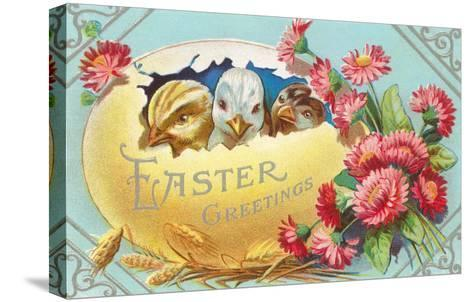 Easter Greeting, Chicks in Egg--Stretched Canvas Print