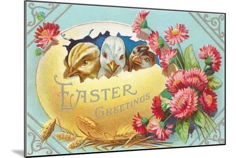 Easter Greeting, Chicks in Egg--Mounted Art Print