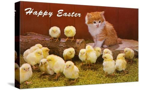 Happy Easter, Kitten and Chicks--Stretched Canvas Print