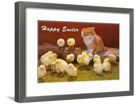 Happy Easter, Kitten and Chicks--Framed Art Print