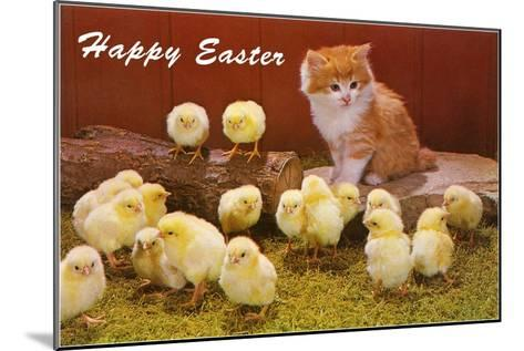 Happy Easter, Kitten and Chicks--Mounted Art Print