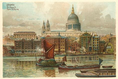 St. Pauls, Thames, London, England--Stretched Canvas Print
