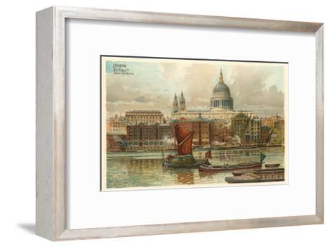 St. Pauls, Thames, London, England--Framed Art Print