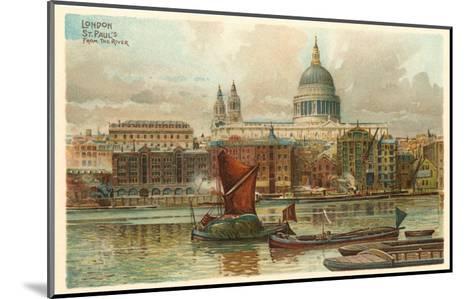 St. Pauls, Thames, London, England--Mounted Art Print