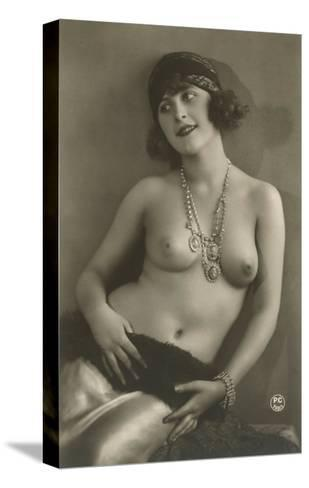 Topless Woman with Necklace--Stretched Canvas Print