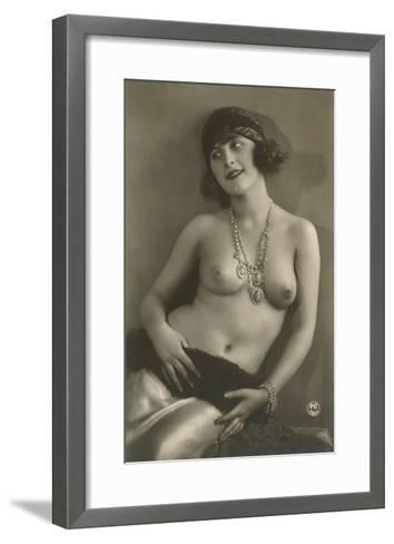 Topless Woman with Necklace--Framed Art Print