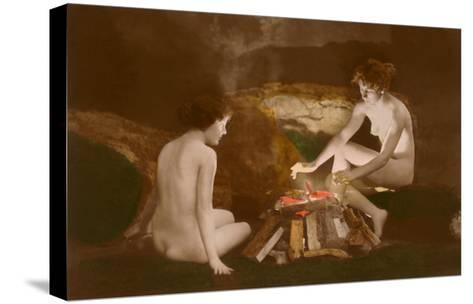 Naked Women by Campfire--Stretched Canvas Print