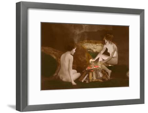 Naked Women by Campfire--Framed Art Print