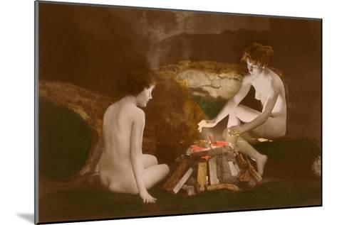 Naked Women by Campfire--Mounted Art Print
