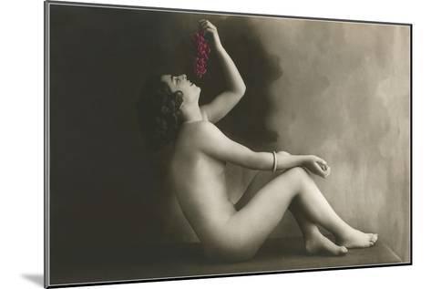 Naked Woman Eating Grapes--Mounted Art Print