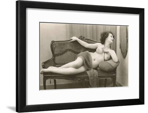 Semi-nude Woman on Cane Divan Looking in Mirror--Framed Art Print
