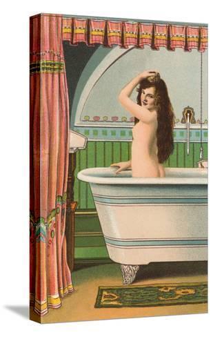 Woman in Bathtub--Stretched Canvas Print