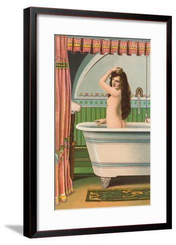 Woman in Bathtub--Framed Art Print