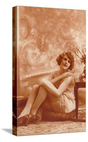 Woman in Slip with Swirly Wallpaper--Stretched Canvas Print