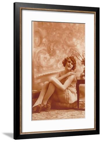 Woman in Slip with Swirly Wallpaper--Framed Art Print